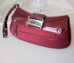 Christian Dior Bag Leather With Satin Street Chic Silver Hw Purse Poch