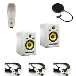 2 White KRK ROKIT 6 G3 Speakers w C-1 Microphone Pop Filter and 3 XLR Cables