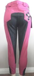 Kingsland Equestrian Ladies Slim Fit Full Leather Seat Breeches In Pink