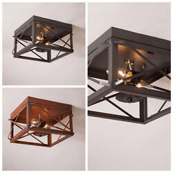 DOUBLE CEILING LIGHT With FOLDED BARS AND NO GLASS/3 COLORS/ COUNTRY LIGHTING