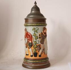 Antique German Hr Hauber And Reuther Beer Stein 454 Relief Farewell Scene C.1900