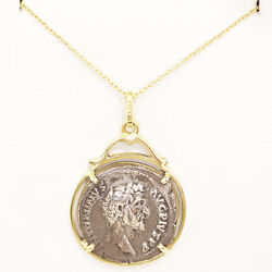 Silver Roman Coin Drop Pendant Set In 18ct Gold And 14ct Necklace.