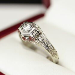 1950s Vintage Diamond Engagement Ring In 14ct And 18ct White Gold Hexagonal Set
