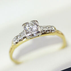 Art Deco Ring With Square Set Diamond, Antique Engagement Ring, Past And Future