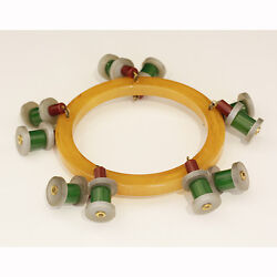 Great Art Deco Novelty Bakelite Bangle In Butterscotch With Red And Green Spools