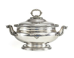 Elkington And Co. Silverplate Footed Tureen, With Hand Engraved Armorials C1850