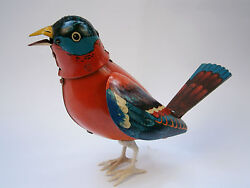 Vintage Rare Tin Mechanical Wind-up Toy Bird Singing And Waving Wings - Works
