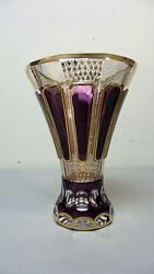 Stunning Amethyst Cut-to-clear Moser Bohemian 7.5 Crystal Vase, C.1880s