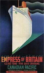Empress Of Britain Vintage Cruise Travel Poster Rolled Canvas Giclee 24x36 In.