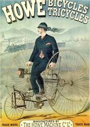 Howe Bicycles Tricycles Antique 1885 Advertising Poster Canvas Giclee 24x32 In.
