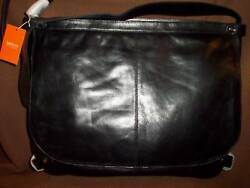 Latico Black Leather Messenger Briefcase Padded For Protection 398 Nwt Nice