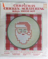 Christmas Chicken Scratch embroidery kit Santa Claus holiday