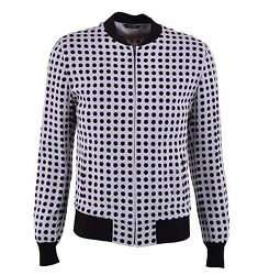Dolce And Gabbana Polka Dot Viscose Jacket With Jersey Trim Beige Brown 04594