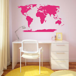 World Map With Antarctica Vinyl Decal Wall Mural For Family Study + More K627