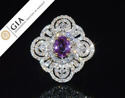 GIA Certified 5.3CTS VS F Diamond No Heat Pink Sapphire 18K Solid Gold Dome Ring