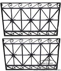Antique Hand Wrought Iron Pair Of Black Iron Regency Style Wall Grates B