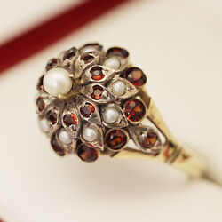 Stunning Antique Pearl And Garnet Princess Cluster Ring, Cocktail Ring, Handmade