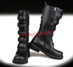 Men's Leather Military Motorcycle Riding Riveted Lace-up Mid-calf Cowboy Boots