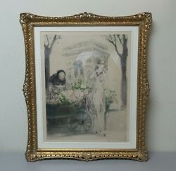 Louis Icart Original Color Etching Flower Seller Dated 1928 Early Frame
