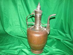 Large Vintage Turkish Middle East Hand Made Copper Coffee Tea Pot Pitcher