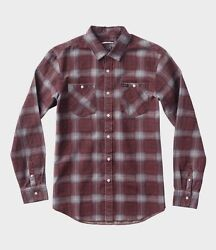 Rvca Bends L/s Red Grey Navy Plaid Button Down Flannel Men's Shirt