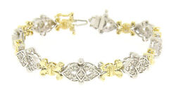 14k Solid Two Tone Gold Diamond Drenched 3.29ct Unique Alternating Link Bracelet