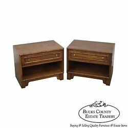 Petite Pair Of Low Faux Bamboo 1 Drawer End Tables Nightstands By Lane
