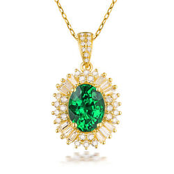 Real 14k Yellow Gold Oval Cut Vintage Natural Diamond And Emerald Pendant Jewelry