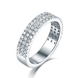 Solid 14k White Gold Three Lines Diamond Wedding Lover Band Ring Crowd