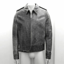 New Mens Dior Homme Grey Distressed Leather Zip Up Jacket Genuine Rrp Size 54