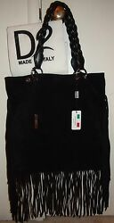 D2 Black Suede Fringed Hobo Double Handle Shoulder Hand Bag Purse NWT Made Italy $329.99