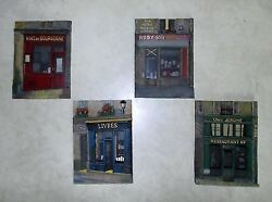 Set Of 4 Decorative Ceramic 3-d Artisan Wall Plaques Of French Shops - New