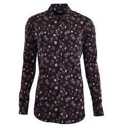 Dolce And Gabbana Gold Dices And Card Suits Printed Cotton Shirt Brown 04820