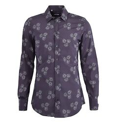 Dolce And Gabbana Gold Dices Printed Cotton Shirt Grey Gray 04809