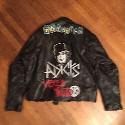 Lucky Leathers Punk Rocker The Adicts Blk Steer Hide Motorcycle Jacket 58