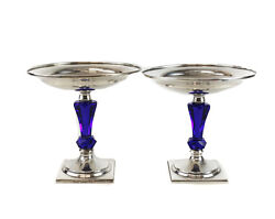Pair Hawkes Sterling Silver Cobalt Blue Art Glass Stemmed Compotes C1950 S713