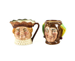 2pc Royal Doulton Small Toby Jugs Jester D5556 Old King Cole 3 1/4 A Mark