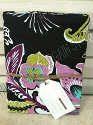 Pottery Barn Teen Boho Floral Flowers Blooms Bed Dorm Duvet Cover Twin BLACK