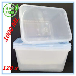 120xplastic Take Away Rectangle Food Safe Container Containers 1000ml Bpafree Ap