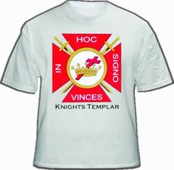 White Knights Of Templar T-shirt For Freemasons - Red Cross In Hoc Signo Logo