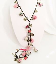 Betsey Johnson 'cameo Critters' Long Necklace And Bracelet Set Rare/htf