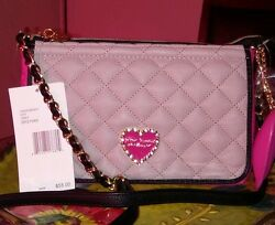 $58 Betsey Johnson Lovely Pink hart Design Shoulder Crossbody Bag New with Tags