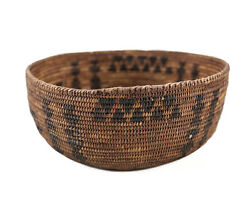 C1850 Native American Indian Coiled Basket Bowl Willow Rod Foundation