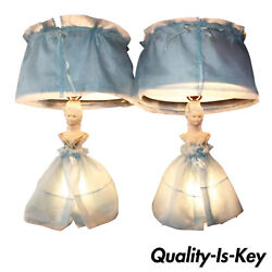 P004 Pair Of Vintage Art Deco Chalkware Lady Bust In Dress Figural Table Lamps