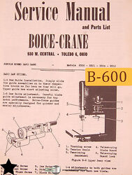 Boice Crane 2300 2301 2304 2310, Single Speed Band Saw, Service And Parts Manual