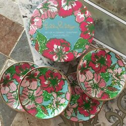 Lilly Pulitzer Ceramic Coaster Set Big Flirt New In Box Sold Out
