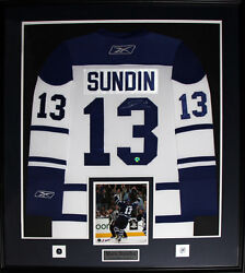 Mats Sundin Toronto Maple Leafs Signed White Jersey Nhl Hockey Collector Frame