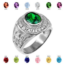 Fine .925 Sterling Silver Us Army Menand039s Cz Birthstone Ring