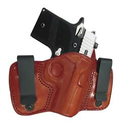 TAGUA BROWN LEATHER DUAL CLIP IWB CONCEALMENT HOLSTER - KEL-TEC P-3AT 380 P-32