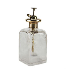 9k Yellow Gold Etched Glass Crystal Perfume Bottle Atomizer Continental C1900